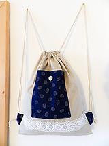 Batohy - Modrotlačový batoh s čipkou - 10153238_