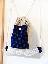 Batohy - Modrotlačový batoh s čipkou - 10153246_