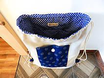 Batohy - Modrotlačový batoh s čipkou - 10153248_