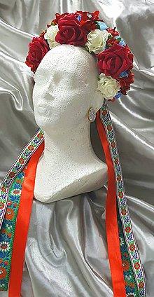 Ozdoby do vlasov - Kvetinová svadobná parta s folkovými stuhami - 10155077_