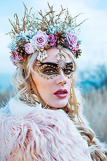 Ozdoby do vlasov - Romantická ružová vianočná koruna - 10155162_