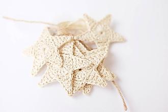 Dekorácie - Bavlnené hviezdičky (prírodne-biele) - 10154803_