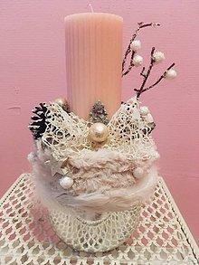 Dekorácie - Púdrovo ružový svietnik - 10154720_