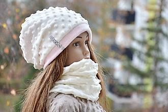 Detské súpravy - Zimný set minky  Minky ivory & pink - 10152932_