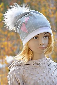 Detské čiapky - Zimná čiapka sivá so srdiečkami - 10156989_