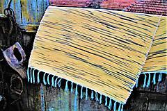 Úžitkový textil - Tkaný koberec žlto-čierny - 10156205_