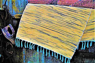 Úžitkový textil - Tkaný koberec žlto-čierny - 10156220_