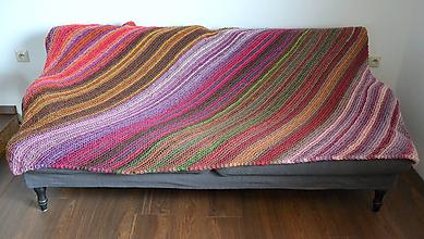Úžitkový textil - Farebná vlnená prikrývka (pre dvoch) - 10160706_
