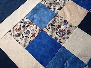 Úžitkový textil - Patchwork deka - Ice blue hockey - 10158970_