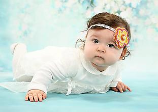 Detské doplnky - čelenka pre bábätko alebo dievčatko - kvetinková - 10157693_