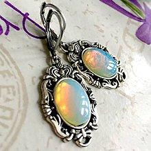Náušnice - Antique Silver Filigree Opalite Earrings / Náušnice s opalitom v starostriebornom prevedení /1189 - 10157507_