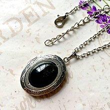 Náhrdelníky - Oval Golden Obsidian Locket Necklace   Oválny otvárací  medailón so zlatým obsidiánom  1206 b438133ef17
