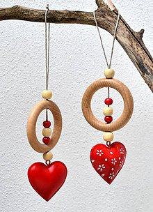 Dekorácie - Drevené ozdoby na stromček-Krúžky so srdiečkom - 10157536_
