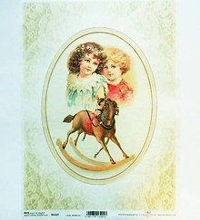 Papier - Ryžový papier na decoupage -A4-R1127 - Vianoce, deti, čipka - 10157904_