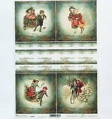 Papier - Ryžový papier na decoupage -A4-R1308-Vianoce, deti, retro - 10157931_