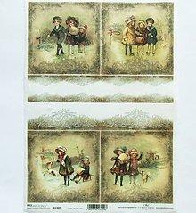 Papier - Ryžový papier na decoupage -A4-R1309-Vianoce, retro, deti - 10157943_