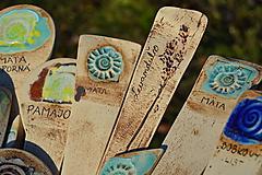 Dekorácie - keramický zápich bylinky - 10157215_