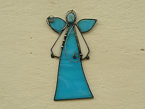 Dekorácie - Anjelik s minerálom (modrý s achátom) - 10158488_