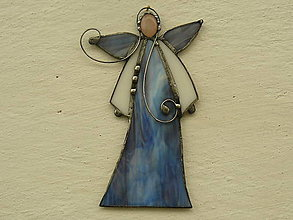 Dekorácie - Anjelik s minerálom (modrofialový s ruženínom) - 10158522_