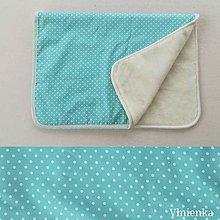 Úžitkový textil - Deka/ prikrývka 100% Merino TOP a 100% bavlna BODKA mentolová 140 x 210 cm - 10159783_