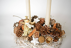 Dekorácie - Vianočný svietnik s anjelom - 10159782_