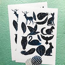 Papier - nálepky Nočné zvieratká - 10158741_
