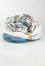 """Šatky - Pôvabný trojfarebný kvetinový nákrčník z ľanu """"BlueRose"""" - 10159133_"""