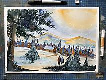 Akvarel - Zimná romantika - obraz