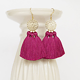 Náušnice - Zlaté náušnice s ružovými strapcami - 10158825_