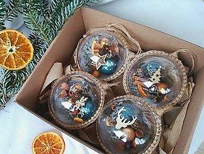 Dekorácie - Vianočné gule 4 ks sada medeno modrá - 10158637_
