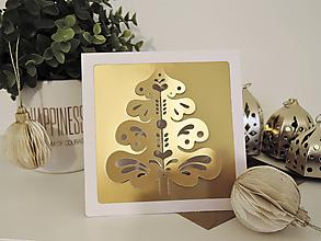Dekorácie - Vianočná pohľadnica/deko - folk stromček - 10157128_