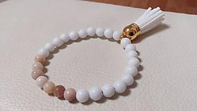 Náramky - Náramok z prírodných korálok - jadeit a ružový opál - 10158524_