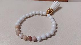 Náramky - Náramok z prírodných korálok - jadeit a ružový opál - 10158525_