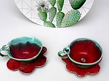 Nádoby - Šálka s podšálkou červeno-zelená (SA 3) - 10157288_