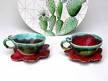 Nádoby - Šálka s podšálkou červeno-zelená (SA 3) - 10157289_