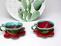 Nádoby - Šálka s podšálkou červeno-zelená (SA 3) - 10157290_