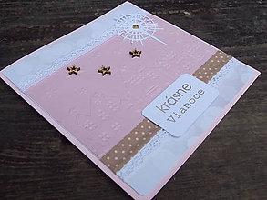 Papiernictvo - ...pohľadnica vianočná domčeková ružová... - 10157356_