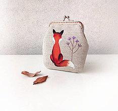 Peňaženky - Peňaženka Líška s fialovým kvetom - 10157934_