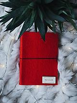 """Papiernictvo - A6 zápisník z filcu """"červený šik"""" - 10157634_"""