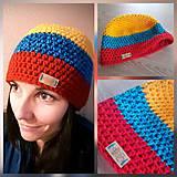 Čiapky - Merino pestrá zimná čiapka - žltá/modra/červená - 10159965_
