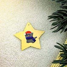 Dekorácie - Zvieracie vianočné ozdoby (hviezdička - mačička) - 10158627_