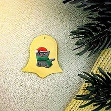 Dekorácie - Zvieracie vianočné ozdoby (zvonček - mačička) - 10158628_