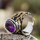 Prstene - Stromy strážcovia ... s ametystom v zlate - 10161312_
