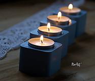 Svietidlá a sviečky - Sada svietnikov, nielen na advent, modré - 10163345_