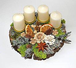 Dekorácie - Adventný svietnik-machový-SKLADOM - 10161341_