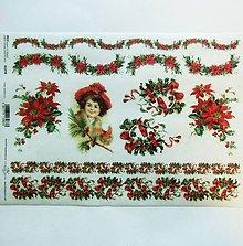 Papier - Ryžový papier na decoupage -A4-R1278 - Vianoce, imelo - 10160845_