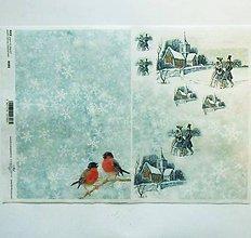 Papier - Ryžový papier na decoupage -A4-R593 - Vianoce, sýkorka - 10161027_