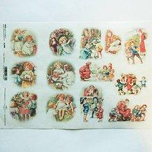 Papier - Ryžový papier na decoupage -A4-R1000-Vianoce, retro, deti - 10163752_