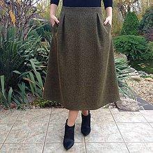 Sukne - Vlnená sukňa rybia kosť zeleno/čierna I - 10161733_
