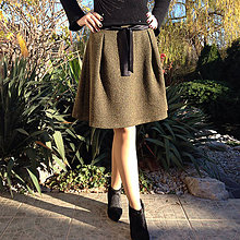 Sukne - Vlnená sukňa rybia kosť zeleno/čierna II - 10161769_
